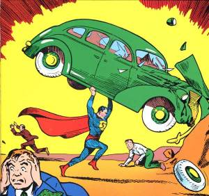 Superman lifts car